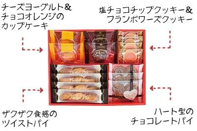 「ピンクのフランボワーズクッキーとカップケーキやパイのギフトセット」の特長説明