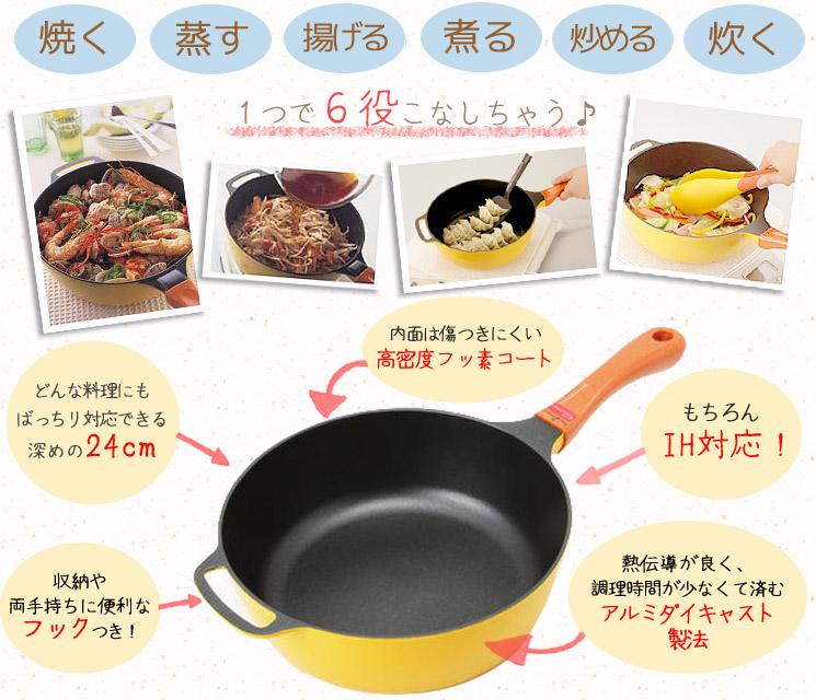 「レシピブック付き♪一台で6通り使える最強レミパン☆(24cm イエロー)」詳細説明2