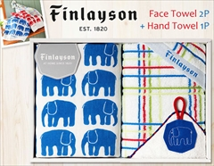 北欧テキスタイル フィンレイソン×今治の上質タオル(フェイス2P・ハンド1P)(ブルー)
