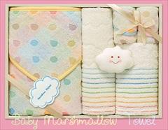 日本アトピー協会推薦 赤ちゃんほっぺのおくるみ&タオルセット(おくるみ1、フェイス1、ウォッシュ1、ハンカチ2、トイ1)