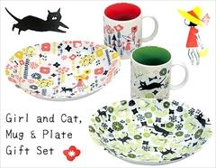 女の子とネコちゃん☆マグカップとオーバルプレートのペアギフトセット