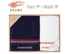 BEAMS DESIGN 上質を楽しむユニセックスタオル (フェイス1&ウォッシュ1)(ネイビー)