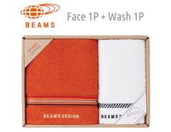 BEAMS DESIGN 上質を楽しむユニセックスタオル (フェイス1&ウォッシュ1)(オレンジ)