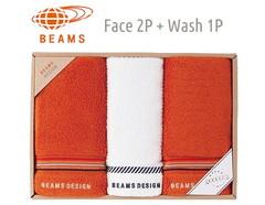 BEAMS DESIGN 上質を楽しむユニセックスタオル (フェイス2&ウォッシュ1)(オレンジ)
