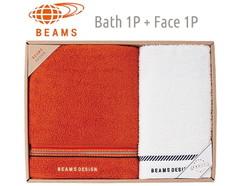 BEAMS DESIGN 上質を楽しむユニセックスタオル (バス1&フェイス1)(オレンジ)