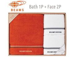 BEAMS DESIGN 上質を楽しむユニセックスタオル (バス1&フェイス2)(オレンジ)