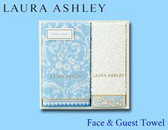 LAURA ASHLEYの上品ゴールドステッチタオルギフト(フェイス×1、ゲスト×1)