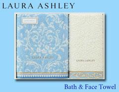 LAURA ASHLEYの上品ゴールドステッチタオルギフト(バス×1、フェイス×1)