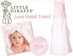 ハリウッド・セレブのお気に入り♪Little Giraffeのふんわりお耳付きフードタオル(ピンク)