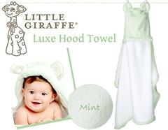ハリウッド・セレブのお気に入り♪Little Giraffeのふんわりお耳付きフードタオル(ミント)