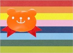 キャンディベアシール(オレンジ)+リボン(レッド)