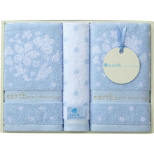 earth music & ecology towel (Face×2,Wash×1) Blue