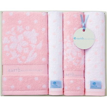 earth music & ecology towel (Bath×1,Face×2,Wash×1) Pink