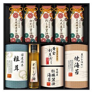 贅沢和食のプレミアムギフト(海苔×2、椎茸×1、醤油×5、オリーブオイル×1、出汁×1)